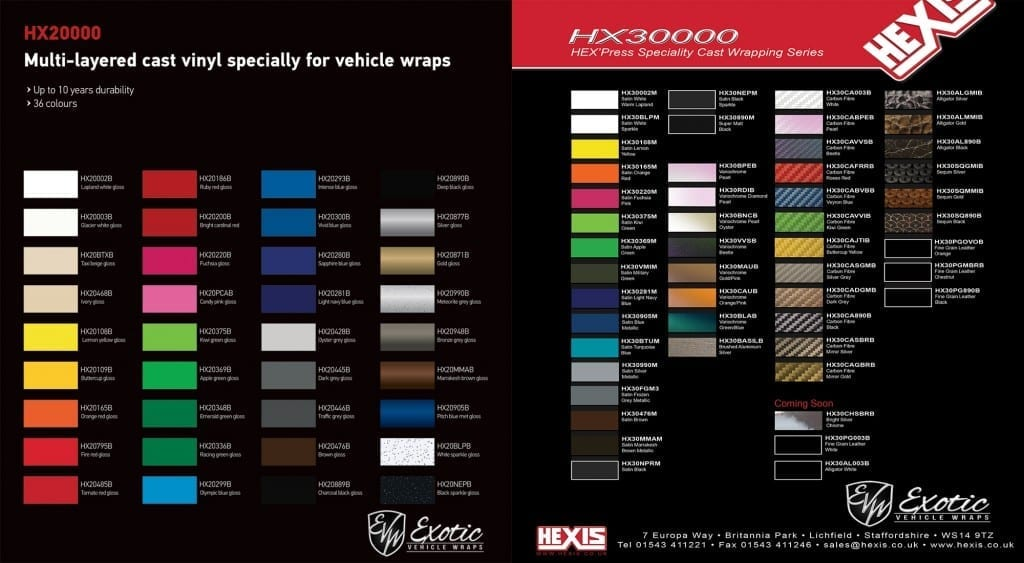 Car paint colors samples